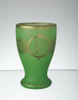 Glass Goblet - alabaster, green glass - Neuwelt Bohemia - 1865