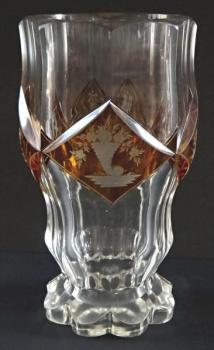 Biedermeier glass (goblet) with yellow medallions